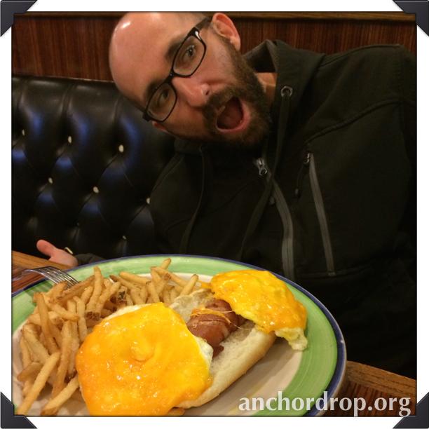 husband eating #baconcorndog #glutenfree #cheater #ilovefood #irony